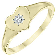 9ct Gold Diamond Set Heart Signet Ring Size J - Product number 6116485