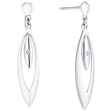 9ct White Gold Diamond Set Teardrop Drop Earrings - Product number 6117783