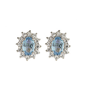 9ct Yellow Gold Blue Topaz Stud Earrings - Product number 6117937