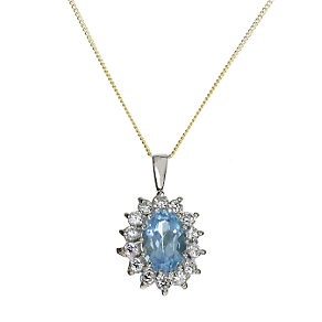 9ct Gold Blue Topaz Cluster Pendant - Product number 6118534