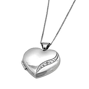 9ct White Gold Diamond Locket