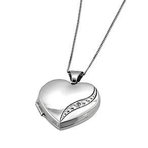 9ct White Gold Diamond Locket - Product number 6118844
