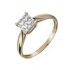 9ct Gold Square 0.20 Carat Diamond Cluster Ring - Product number 6118852