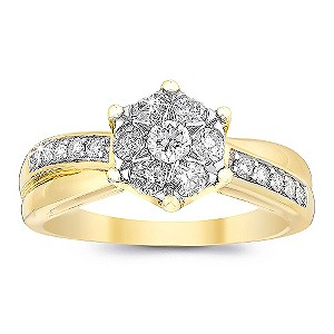 9ct Two Colour Gold Quarter Carat Diamond Ring