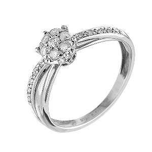 9ct White Gold Quarter Carat Diamond Cluster Ring