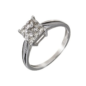 9ct White Gold Square 0.33 Carat Diamond Cluster Ring