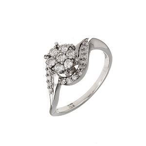 18ct White Gold 1/2 Carat Diamond Cluster Twist Ring