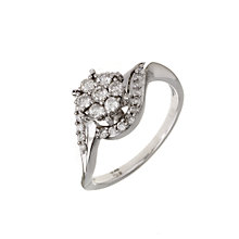 18ct White Gold 1/2 Carat Diamond Cluster Twist Ring - Product number 6121578
