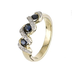 9ct Yellow Gold Sapphire and Diamond Ring - Product number 6121691