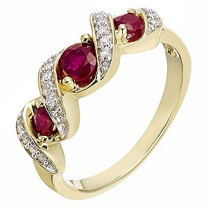 9ct Yellow Gold Treated Ruby and Diamond Ring