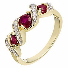 9ct Yellow Gold Treated Ruby and Diamond Ring - Product number 6121829