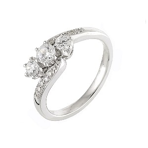 18ct White Gold Half Carat Three Diamond Ring