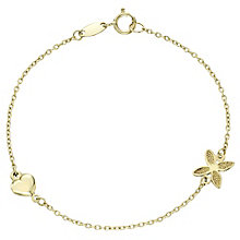 9ct Gold Flower & Heart Charm Bracelet - Product number 6129501