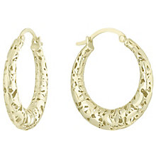 9ct Gold 3D Cut Out Creole Earrings - Product number 6129846