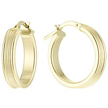 9ct Gold Ribbed Creole Earrings - Product number 6129854