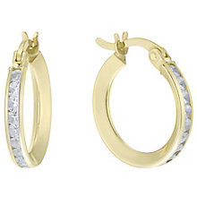 9ct Gold Cubic Zirconia Channel Set Creole Earrings - Product number 6129862
