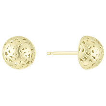 9ct Gold 3D Cut Out Dome Stud Earrings - Product number 6129889