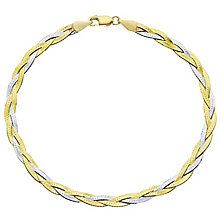 9ct Gold 2 Colour Herringbone Bracelet - Product number 6130003