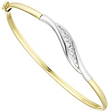 9ct Gold 2 Colour Cubic Zirconia Set Wave Bangle - Product number 6130046