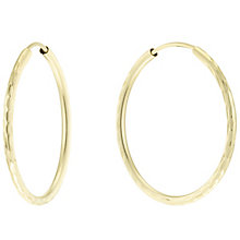 9ct Gold Diamond Cut 21mm Hoop Earrings - Product number 6130054