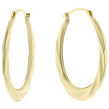 9ct Gold Wave Design Creole Earrings - Product number 6130089
