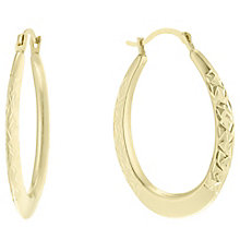9ct Gold Diamond Cut Oval Creole Earrings - Product number 6130496