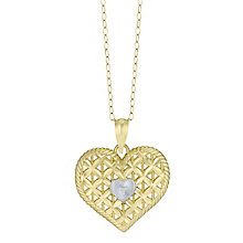 9ct Gold 2 Colour Diamond Set Cut Out Pattern Heart Pendant - Product number 6130526