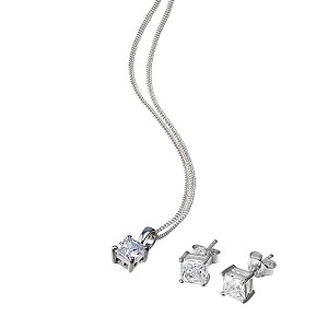 Silver cubic zirconia earring and pendant boxed set - Product number 6131727