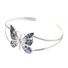 Sterling Silver Abalone Butterfly Bangle - Product number 6131980
