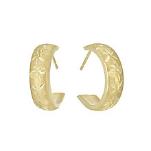 9ct Gold Diamond Cut Matt Half Hoop Earrings - Product number 6135722