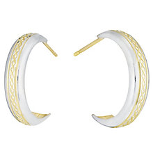 9ct Gold 2 Colour Diamond Cut Half Hoop Earrings - Product number 6135749