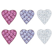 Sterling Silver Violet, Rose & White Crystal Stud Earrings - Product number 6135757