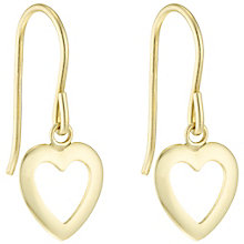 9ct Gold Hookwire Open Heart Drop Earrings - Product number 6135943