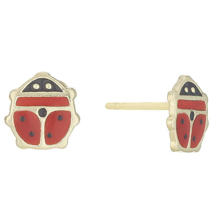 9ct Gold Enamelled Ladybird Stud Earrings In Novelty Box - Product number 6136176