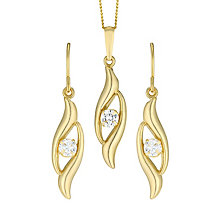 9ct Gold Cubic Zirconia Double Swirl Drop Earrings & Pendant - Product number 6136281