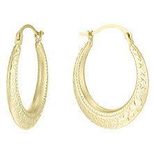 9ct Gold Diamond Cut Beaded Edge Creole Earrings - Product number 6136311