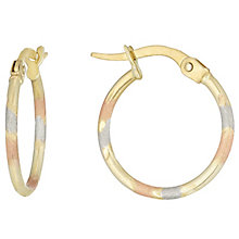 9ct Gold 3 Colour Thin Striped Creole Earrings - Product number 6137571