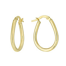 9ct Gold Oval Creole Earrings - Product number 6137644