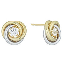 9ct Gold 2 Colour Cubic Zirconia Swirl Knot Stud Earrings - Product number 6138047