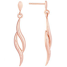 9ct Rose Gold Flame Drop Earrings - Product number 6138071