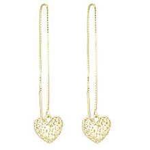 9ct Gold 3D Cut Out Heart Thread Through Style Earrings - Product number 6138128
