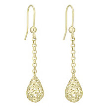 9ct Gold 3D Cut Out Long Chain Ball Drop Earrings - Product number 6138136