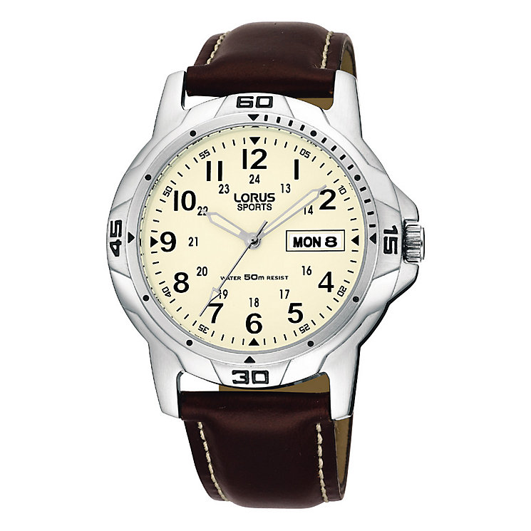 Lorus Men's Watch Brown Leather Strap Cream Dial - Product number 6139205