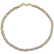 "9ct Gold 3 Colour 7.25"" Herringbone Bracelet - Product number 6139884"