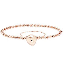 9ct Rose Gold Rope & Padlock Bracelet - Product number 6140351