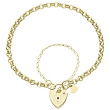 9ct Gold Heart Padlock Charm Belcher Bracelet - Product number 6140378