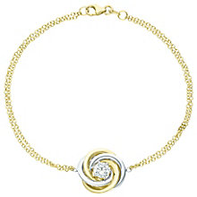 9ct Gold 2 Colour Cubic Zirconia Set Swirl Knot Bracelet - Product number 6140416
