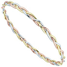 9ct Gold 3 Colour Plait Design Bangle - Product number 6140424
