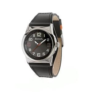 Men` Black Leather Strap Watch