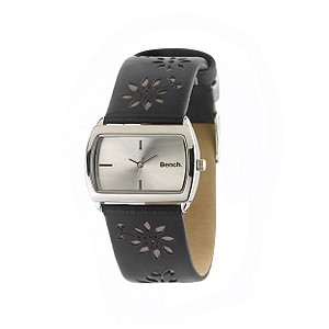 Ladies`Floral Leather Strap Watch